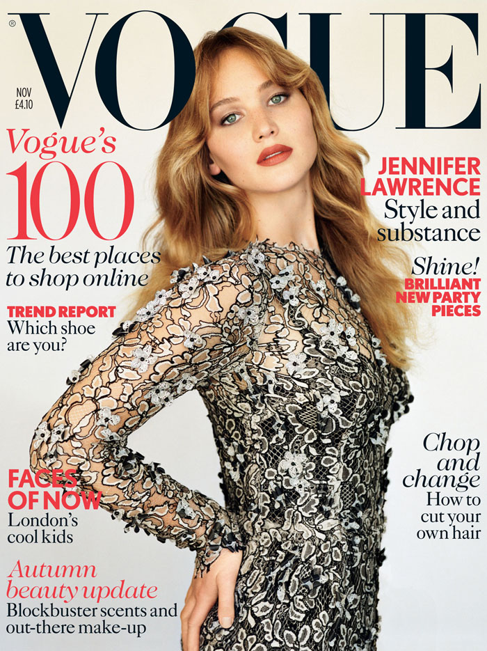 Дженнифер Лоуренс (Jennifer Lawrence) в фотосессии Аласдера Маклеллана (Alasdair McLellan) для журнала Vogue (ноябрь 2012).
